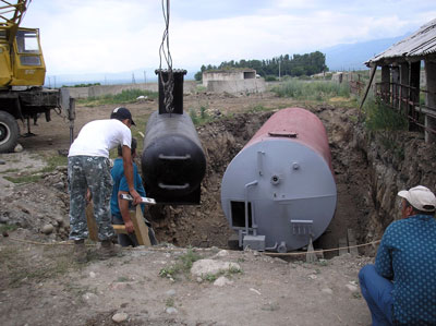 Installation of the dogester of the biogas plant of Zarja Community, Kyrgyzstan