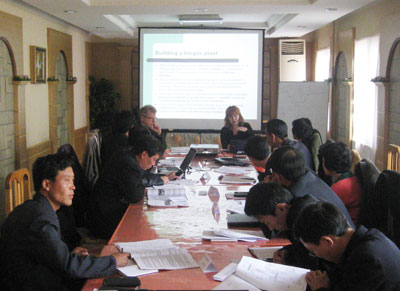 Discussion of biogas plant constructions during 3-day training in Pyongyang, DPRK